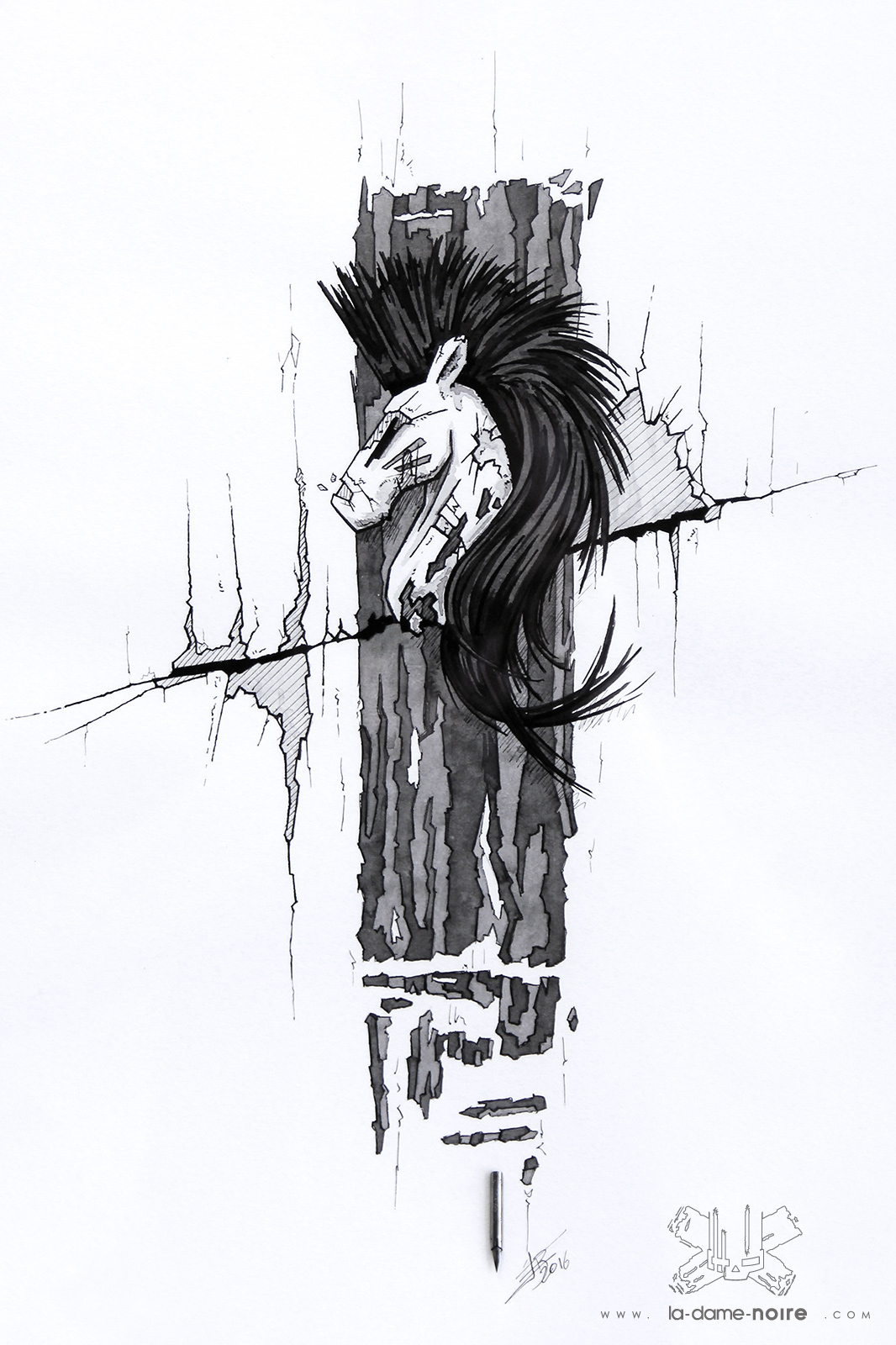 Drawing of a Horse made with a quill and black china ink