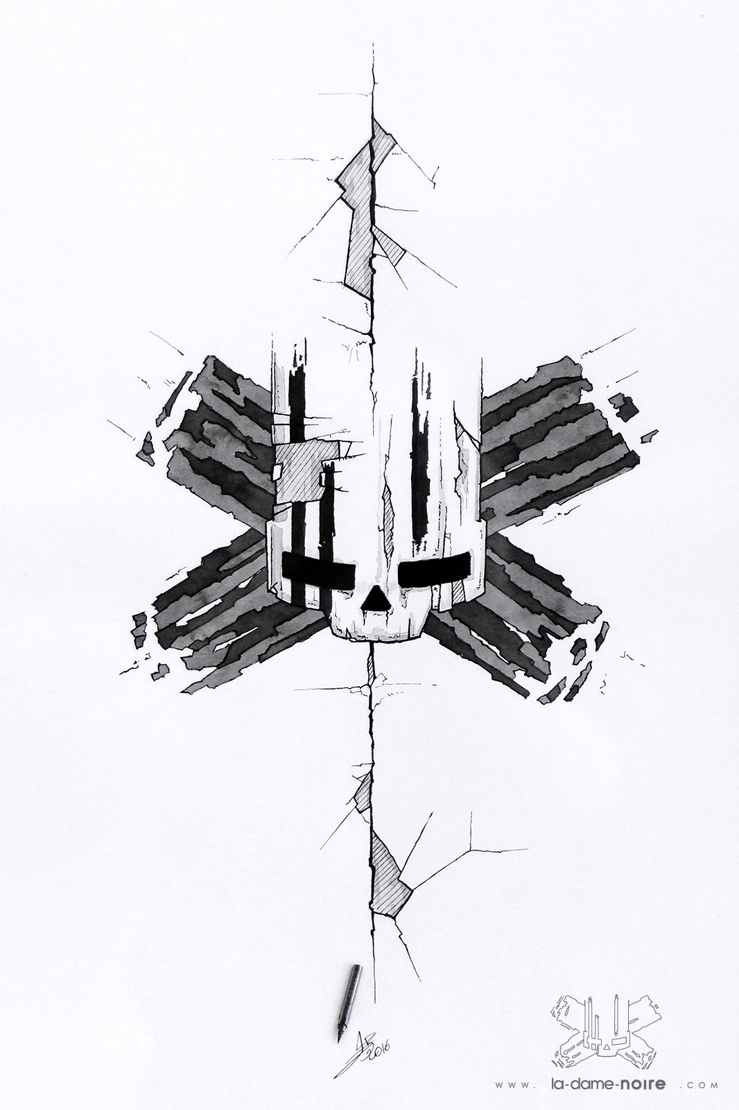 Drawing of a stylized skull made with a quill and black china ink