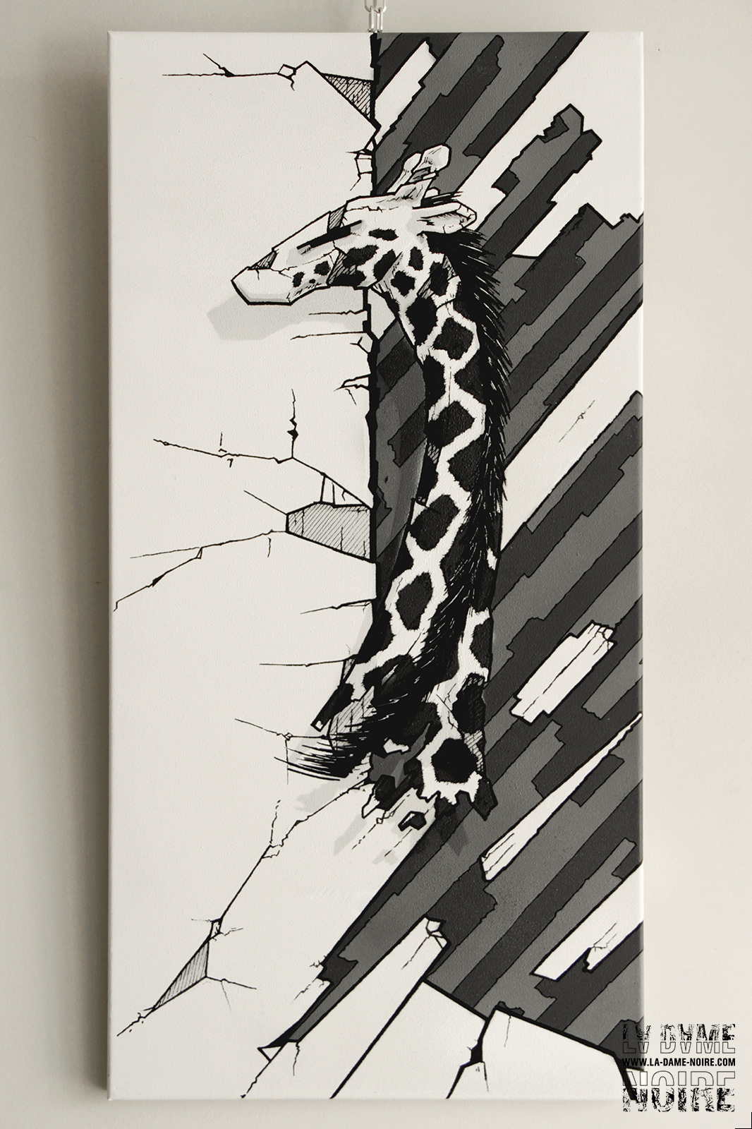 Painting of a giraffe in shades of grey